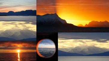 Sonne am Mitternacht in der Arktis