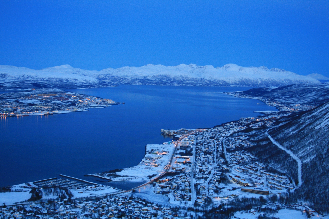 Winter: Looking down over  Tromsø in the twilight.