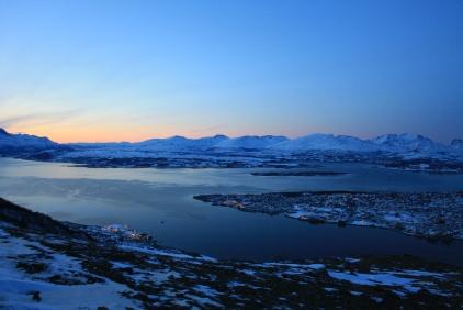 Winter: Looking south above Tromsø in the twilight.