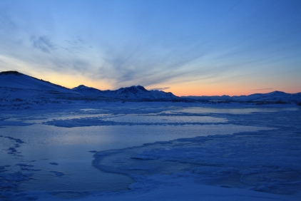 Winter: Looking south above Tromsø in the twilight.