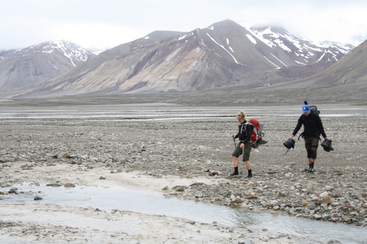 Crossing a glacial stream