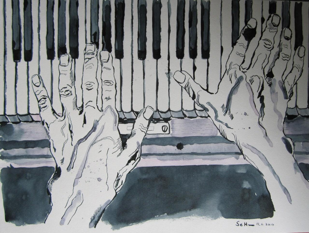 Klavierhände (c) Zeichnung  von Susanne Haun