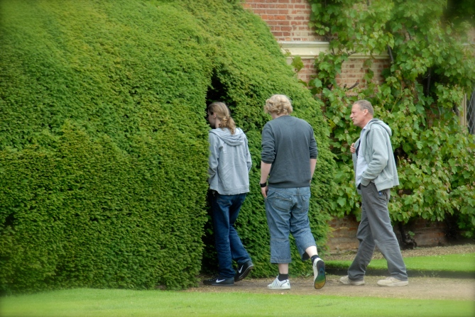 Klausbernd, Sören and Marius going into a Hedge at Blickling Estate, Norfolk Photo: Hanne Siebers