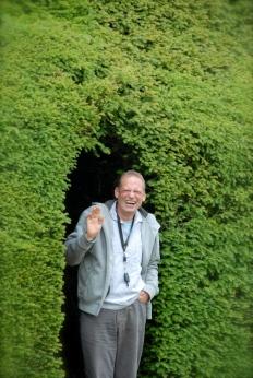 Klausbernd Vollmar coming out a Hedge at Blickling Estate, Norfolk Photo: Hanne Siebers