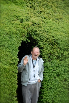 Klausbernd Vollmar coming out a Hedge at Blickling Estate, Norfolk Photo: Hanne Siebers