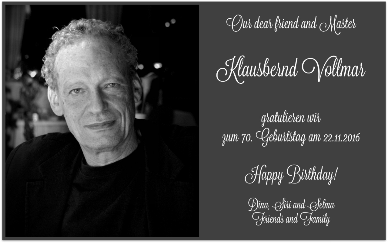 Klausbernd Vollmar 70 birthday