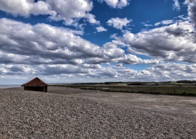 Never seen before; empty car park at Cley beach